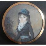 Bouelle Pierre-Guillaume, Jeune femme en tenue d'amazone, miniature signée 1795